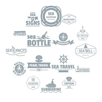 Nautical sea logo icons set. Simple illustration of 16 nautical sea logo vector icons for web