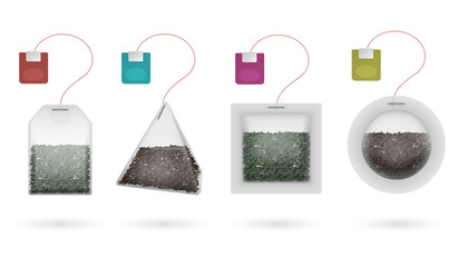 Tea bags with black and green brewing tea isolated vector set