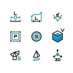 Square area, size, surface areas, 3d dimension, angle and perimeter measuring vector icons isolate