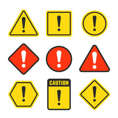 Exclamation mark beware icons. Attention and caution signs. Hazard warning vector symbol isolated