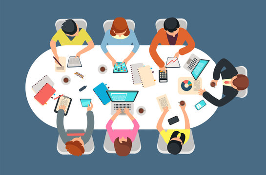 Managed team in office meeting at table top view vector illustration. Teamwork concept