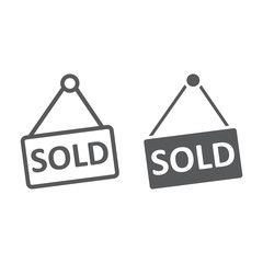 Sold line and glyph icon, real estate and home