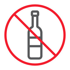 No alcohol line icon, prohibition and forbidden