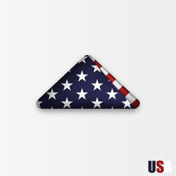 triangularly folded American flag