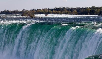 Isolated image of a powerful Niagara waterfall