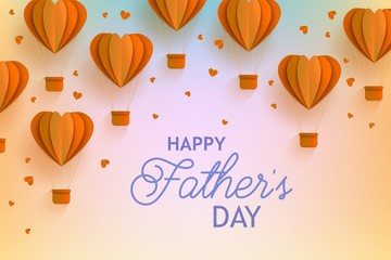 Happy Fathers Day banner with orange hot air balloons of heart shape in trendy paper art style and greeting sign on gradient background - folded cardboard abstract aerostats in vector illustration.