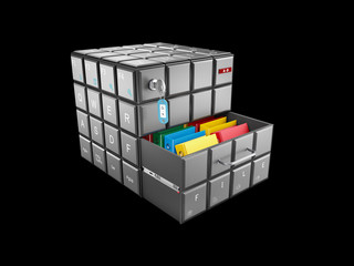 3d illustration of cube with keyboard buttons with files , isolated black