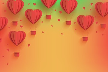 Heart shaped red hot air balloons in trendy paper art style on gradient background. Cardboard folded aerostats surrounded by little hearts and copy space in vector illustration for greeting card.