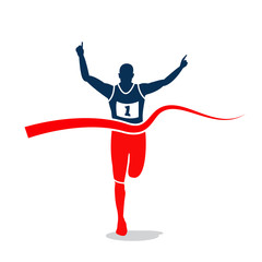 Man sprint running to win design.