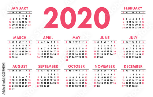 February Calendar 2020 Grid Calendar 2020 vector pocket basic grid. Simple design template