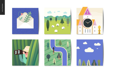 Simple things - cards - flat cartoon vector illustration of envelope, herbarium, sheep, field, tower clock, hunter, grass, binocular, top view forest river map, sky view - summer postcards composition
