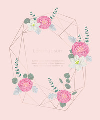 Rose gold polygonal frame with floral elements in watercolor style. Pink camellias, white lily flowers and eucalyptus leaf. Design template for invitation, greeting card, print. Vector illustration