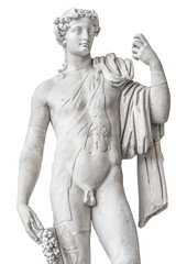 Foto auf Leinwand Historische denkmal Statue of naked beautiful Apollo isolated at white background