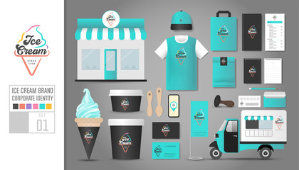 Corporate identity template Set 1. Logo concept for ice cream shop, restaurant. Realistic mock up template set of shop, car, t shirt, cap, cup, menu, rubber stamp, coupon, package, mobile application.
