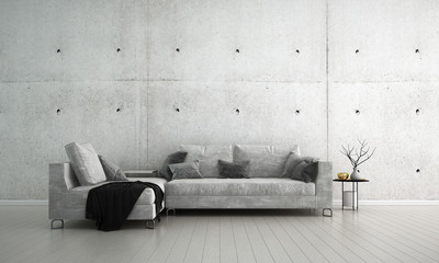The interior design idea concept of loft living room and concrete wall texture background / 3D rendering
