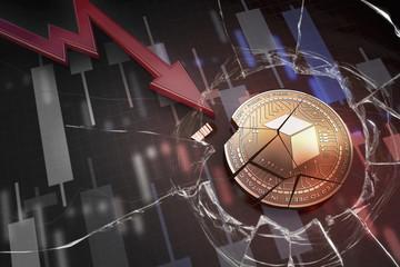 shiny golden BRICKBLOCK cryptocurrency coin broken on negative chart crash baisse falling lost deficit 3d rendering
