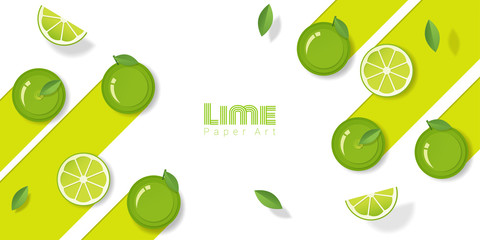 Fresh lime fruit background in paper art style , vector , illustration