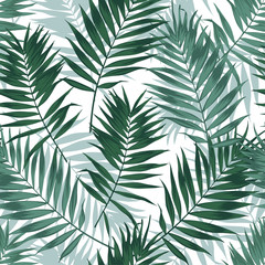 Tropical jungle seamless pattern with palm leaves. Summer fabric floral design, vector illustration background.