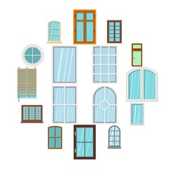 Plastic window forms icons set in flat style isolated vector illustration