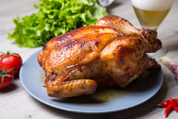 Chicken baked whole. Selective focus, close-up.