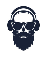 Bearded skull wearing sunglasses and headphones