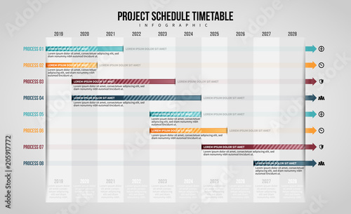 Project Schedule Timetable Infographic\