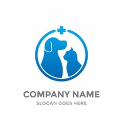 Hospital Health Medice Animal Pet Care Veterinary Clinic Friends Safety Silhouette Grapic Love Circle Modern Healthcare Dog Cat Logo Icon Vector Design Template