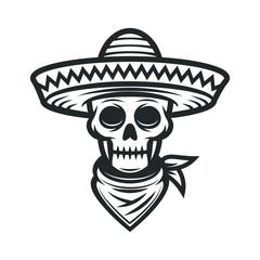 Mexican skull in sombrero