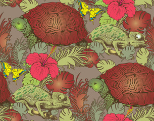Seamless pattern of turtle, chameleon and flowers. Vector illustration