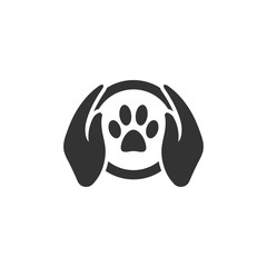 Paw silhouette in circle shape and hand