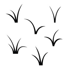 A selection of black and white grass silhouettes