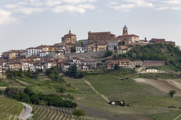 Langhe, Cuneo district, Piedmont, Italy. Langhe wine region spring, La Morra village