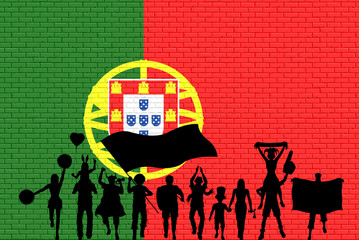 Portuguese supporter silhouette in front of brick wall with Portugal flag