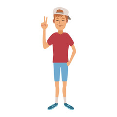 young man doing hands expressions vector illustration graphic design