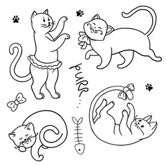 set of funny cartoon cats. hands painted kittens