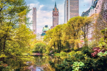Fototapete - The Pond in Central Park, New York City