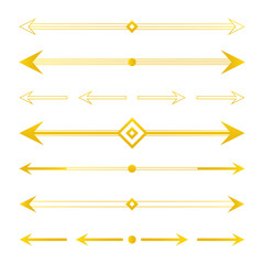 Set, collection of golden arrow borders, dividers, design elements isolated on white background.