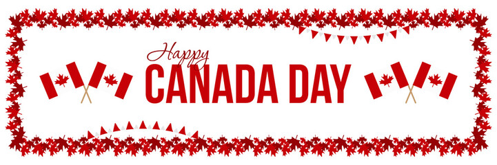 Happy Canada Day card, horizontal illustration or header with maple leaves borders and national canadian flags.