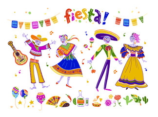 Big vector set of fiesta elements, symbols & skeleton characters in flat hand drawn style isolated on white background. Icons for mexico celebrations, national patterns & decorations, traditional food