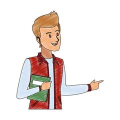Young man student cartoon vector illustration graphic design