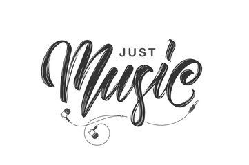 Handwritten brush ink lettering of Just Music with headphones on white background