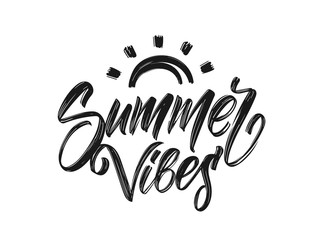 Handwritten type lettering of Summer Vibes with hand drawn brush sun