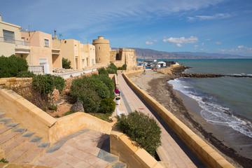 Coast promenade and Roquetas del Mar castle de Santa Ana Costa de Almería, Andalucía Spain