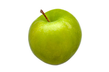 A large green fresh, bright green apple close-up on a white background.