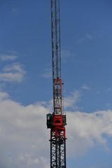 A crane on a construction site downtown in Montreal-Canada