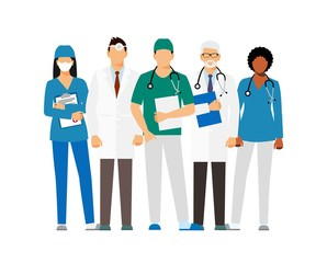 Doctors and assistant in a dressing gown with a stethoscope isolated on a white background. Doctor without a face. vector illustration