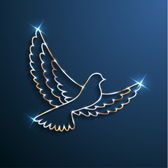 Golden shiny dove silhouette with sparkles on blue background - eps10 vector illustration