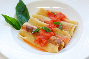 Italian cannelloni pasta with tomato sauce and basil on white ceramic plate