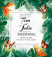 Wedding invitation desing with exotic leaves and coloful flowers and butterflies. Vector