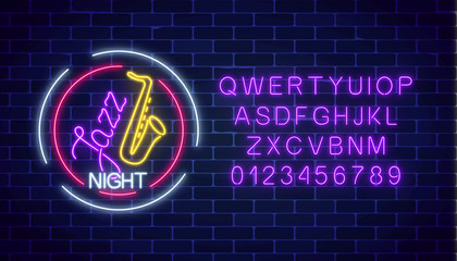 Neon jazz cafe glowing sign with saxophone and alphabet. Glowing invitation to jazz night in music bar.